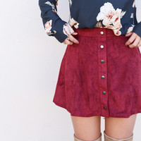 Suede Daze Skirt {Wine}