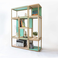 Stacks shelving furniture - multi function al stackable shelving - open bookshelf - bookcase - box - room divider - open wall furniture seat