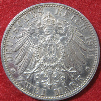 1911 D Bavaria, German Empire Prussia Prussian Deusches Reich Silver Two Mark, Low Mintage Silver COIN, 600,000 Minted, Vintage Silver Coin