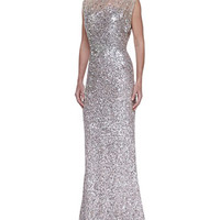 Jenny Packham Beaded & Sequined Gown, Silver/Nude
