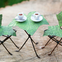 Fairy Garden Table and Chairs Furniture bistro set - miniature ivy leaf hand painted accessories for terrarium coffee cups