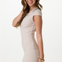 Taupe Dress with Jewel Embellished Shoulders&Cutout Back