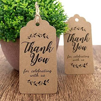 100/200/300pcs White/Brown Kraft Gift Tags Thank You Paper Tags for Wedding Bridal Baby Shower Party Favors Gifts for Guests FREE SHIPPING
