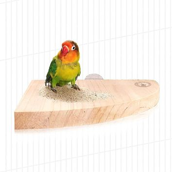 Mrli Pet Bird Perch Platform Stand Wood for Small Animals Parrot Parakeet Conure Cockatiel Budgie Gerbil Rat Mouse Chinchilla Hamster Cage Accessories Exercise Toys Sector Medium