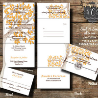 25 Fall wedding invitations,Seal and Send invitations, Seal 'N Send invitation,Fall Wedding invite with leaves , All in one invitations