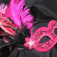 Leather Masquerade Mask in Shades of Hot Pink and Silver