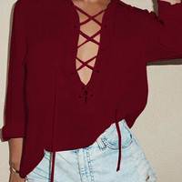 Red Lapel Bandage Long Sleeve Blouse with Pocket