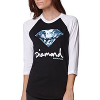 Diamond Supply Co Script Raglan T-Shirt - Womens Tee - Black