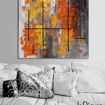 Made to order. Original abstract painting. 24x24 Geometric with yellow, orange, gray. Canvas art Yellow painting. Modern wall art warm color