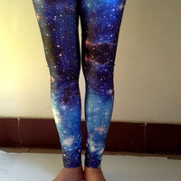 Galaxy Blue Leggings -Galaxy Space Universal Printed Tights  , Elastic Women Leggings , Yoga Leggings, Yoga Pants ,Womens Pants