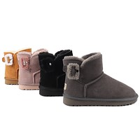 """UGG"" Women male Hairy button Fashion Wool Snow Boots"