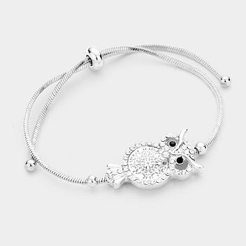 Crystal Embellished Filigree Owl Cinch Bracelet