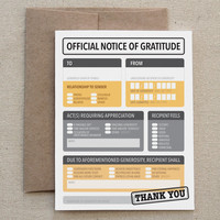 "Funny Thank You Card. For Friend, Man, Woman. Thankyou. Form. Print, Paper. Snarky. Modern. Unique. ""Official Gratitude"" (COT-K008)"