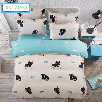 Cool BEST.WENSD Animal cartoon cat 3/4pc Luxury bedding sets bed sheet queen size -home textiles duvet cover sets bed set-pptv king 7AT_93_12