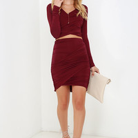 Nice Two Know You Wine Red Two-Piece Dress