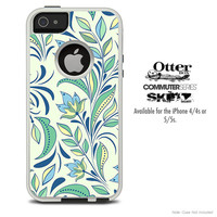 The Subtle Green Abstract Skin For The iPhone 4-4s or 5-5s Otterbox Commuter Case