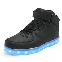 quality LED shoes men women white black high top yeezy sneakers lights casual flats lu
