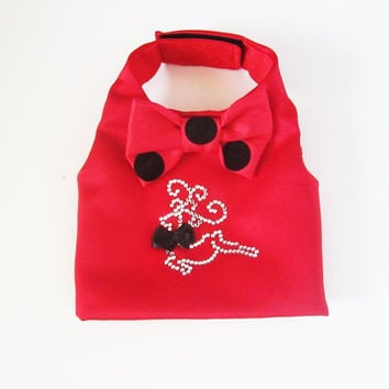 Holiday Dog Vest Red Satin Fancy Holiday Dog Vest with a Crystal Reindeer  Christmas clothes for puppies dogs cats pets: dog costume