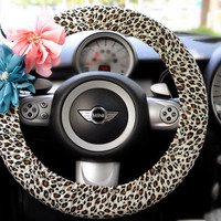 Car Steering wheel cover-White leopard cheetah w/ Chiffon Flower, Unique Auto Accessories, Car Decor, Automobile Wheel cover, Valentine Gift