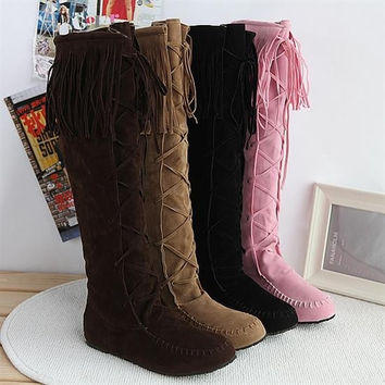Fashion Women Suede Boots Winter Shoes Woman Knee High Boots Autumn 2016 Winter & Fall (US Size) = 1946731652