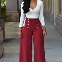 White Deep V Lace-Up Top Red Button Detail Wide Leg Pants