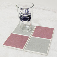 Glam Tile Coasters  in All Pink and Silver No-Shed Glitter Theme with Foamed Backs (4)