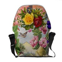 Vintage Shabby Chic Girly Pink Yellow Roses Floral Commuter Bag from Zazzle.com