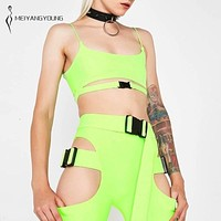 Hollow Out Buckle Crop Top/Shorts Set (Black/White/Florescent Green)