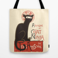 A French Ninja Cat (Le Chat Ninja) Tote Bag by Kyle Walters