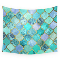 Society6 Cool Jade Icy Mint Decorative Moroccan T Wall Tapestry
