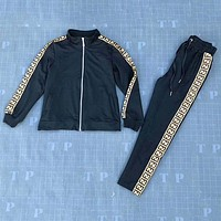FENDI 2018 autumn and winter new zipper long-sleeved jacket + elastic pants two-piece F-AF-MMOH Black