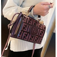 Fashion New More Letter Leather Shopping Leisure Shoulder Bag Women Coffee