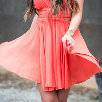 Love Actually Crinkle Dress Coral