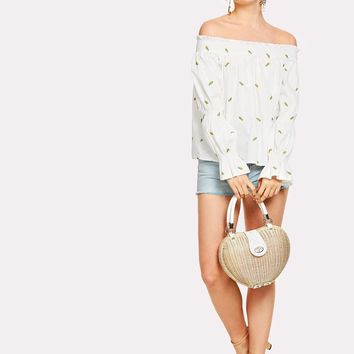 Embroidered Frill Trim Bardot Top
