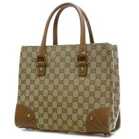 AUTHENTIC GUCCI 120895 Tote Bag Handbag Brown GG canvas Women