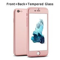 For iPhone 7 6/6s 4.7'' Case Tempered Glass + Full Body Rose Gold Front Back Phone Case Cover