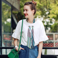 2016 New Fashion Women Casual T-Shirt Summer Short Sleeve O-Neck Shirt Loose Elegant Top Tees With Multicolor Scarf