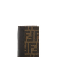 Zucca Double-Fold Credit Card Case, Tobacco/Black - Fendi