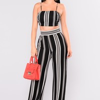 Punch Line Stripe Pant Set - Black/White