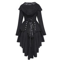 Asymmetric Coat Black Lace-Up Vintage Swallow-tailed Outerwear Slim Overcoat Trench Retro Goth Coats