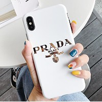 Prada Fashion New Letter Print Women Men Phone Case Protective Cover White