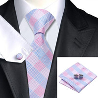 Silk Jacquard Light Blue Pink Plaid Necktie Set