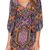 Floral Print Boho V Neck Drawstring Mini Dress