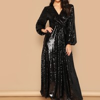 Wrap Front Lantern Sleeve Sequin Dress