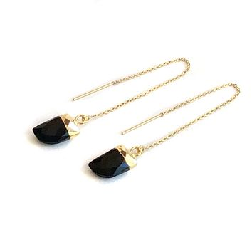 Black Onyx Threader Earrings