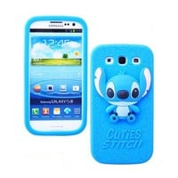S9Q 3D Cartoon Cuties Stitch Silicon Case Cover Skin For Samsung Galaxy S3 i9300