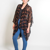 Kimono Jacket in Black & Copper Dancing Fans