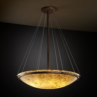 Justice Design Group ALR-9694-35-DBRZ Alabster Rocks! 36-Inch Round Bowl Pendant with Ring