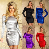 Sexy Off Shoulder Long Sleeves Metallic Cocktail Prom Party Cocktail Black Evening Dress = 1956587844