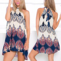 s Ladies Boho Mini Dress Cotton Blend Sexy Fashion Wo Halter Floral Sleeveless Summer Casual Short Skirts QX183